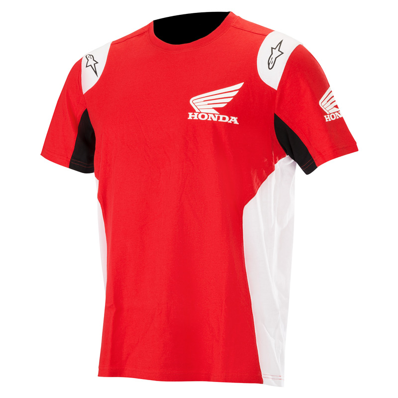 3c45ddb5ad93e3 Pour cette nouvelle collaboration, voici le nouveau T-shirt  Alpinestars-Honda aux couleurs de la marque japonaise. A la fois sobre et  épuré, on retrouve les ...