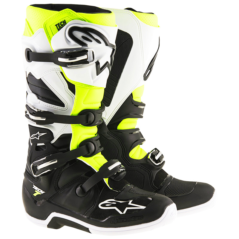 bottes motocross alpinestars tech 7 black white yellow fluo fx motors. Black Bedroom Furniture Sets. Home Design Ideas