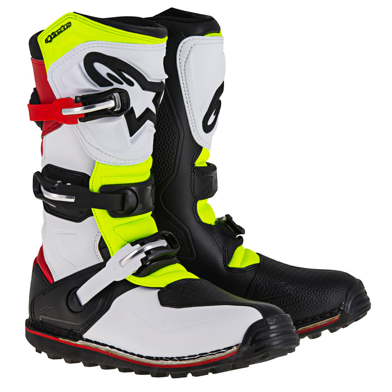 Bottes Trial Alpinestars Tech T White/Red/Yellow Fluo/Black