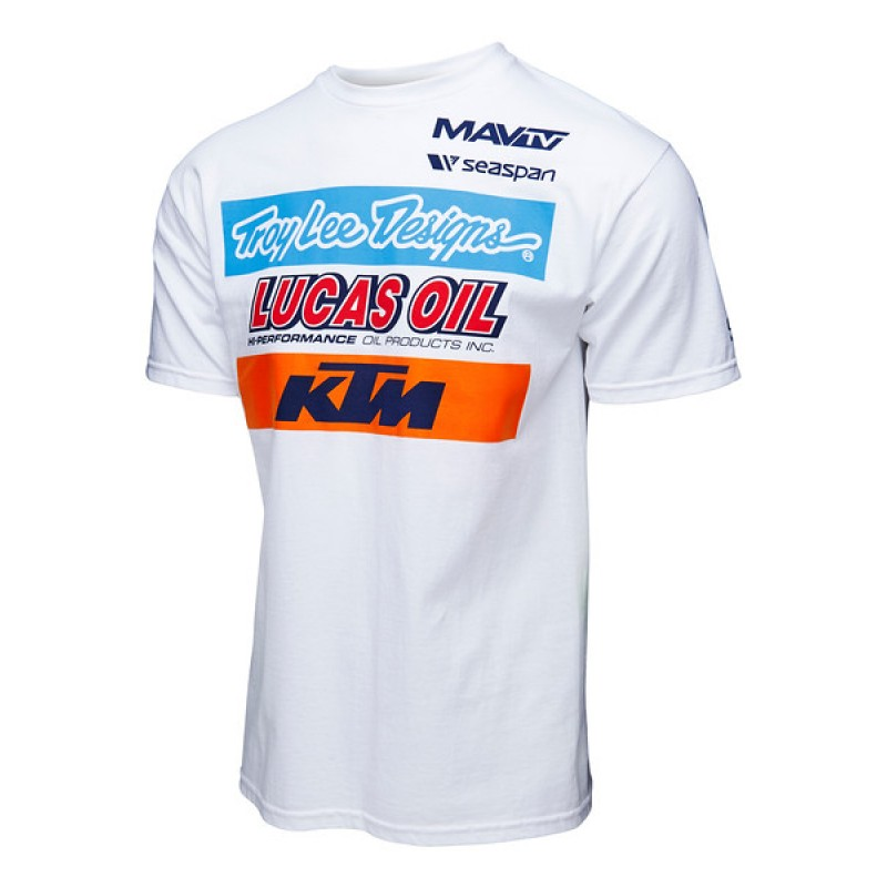 t shirt troy lee designs ktm lucas oil white fx motors. Black Bedroom Furniture Sets. Home Design Ideas