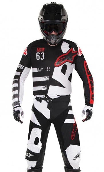 tenue motocross et enduro alpinestars racer braap noir blanc rouge 2018 fx motors. Black Bedroom Furniture Sets. Home Design Ideas