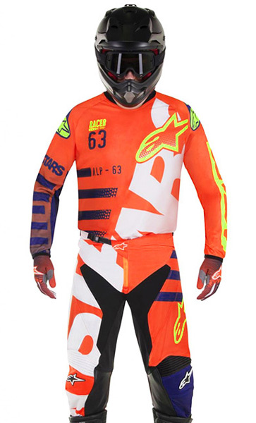 tenue cross alpinestars braap orange fluo bleu blanc 2018 fx motors. Black Bedroom Furniture Sets. Home Design Ideas