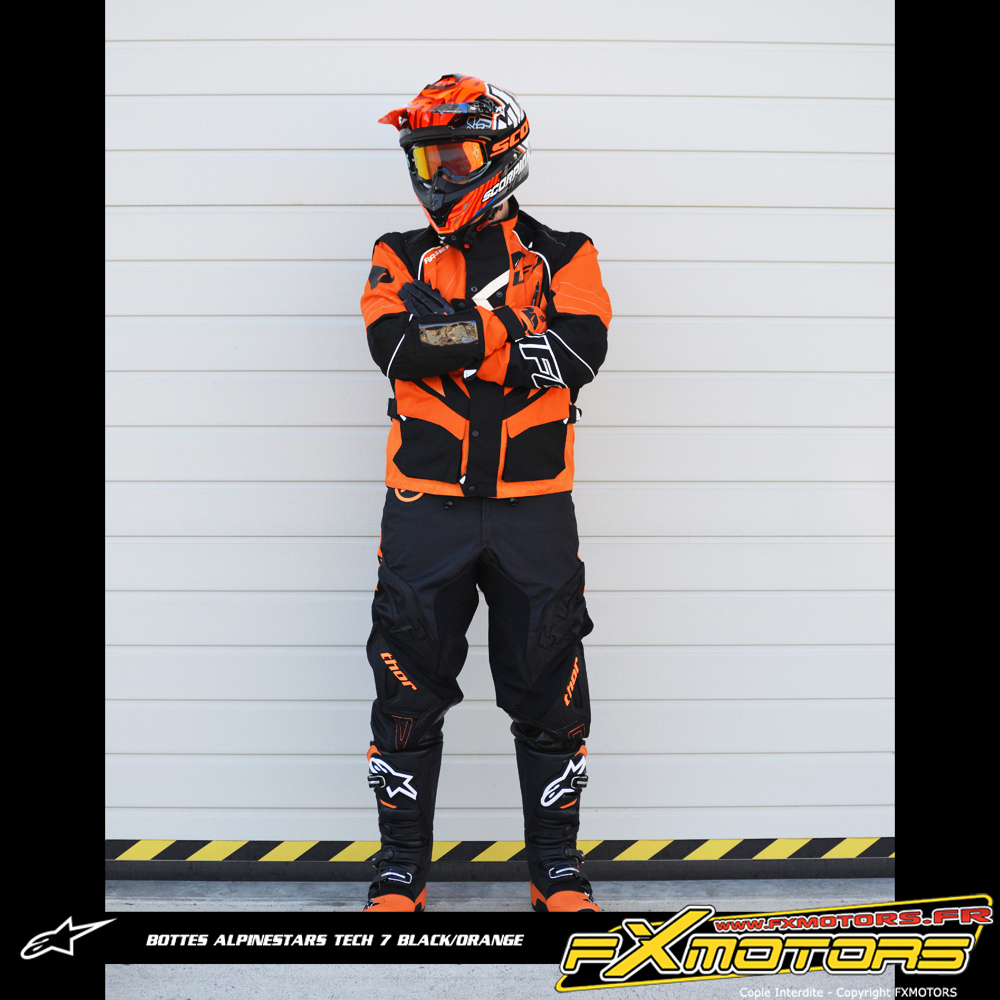 bottes motocross alpinestars tech 7 black orange fx motors. Black Bedroom Furniture Sets. Home Design Ideas