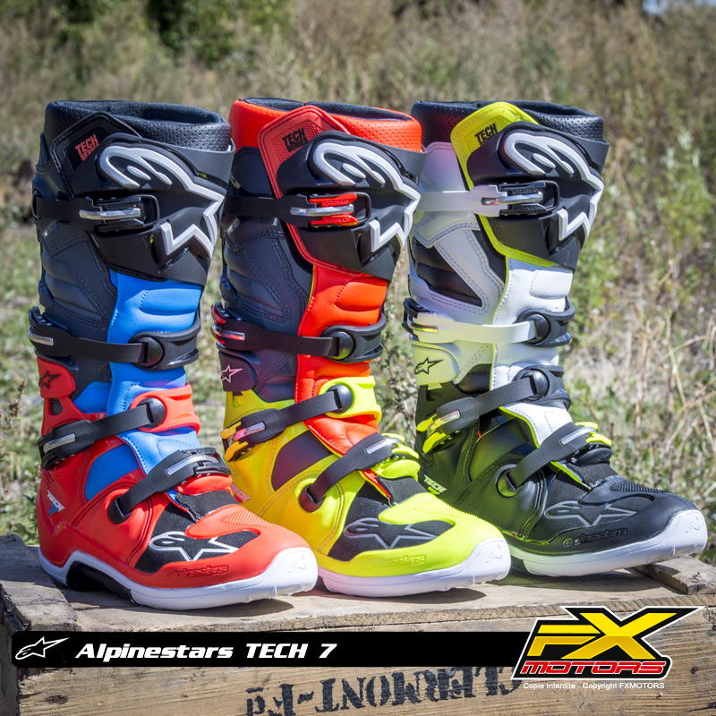 bottes motocross alpinestars tech 7 noir blanc jaune fluo. Black Bedroom Furniture Sets. Home Design Ideas