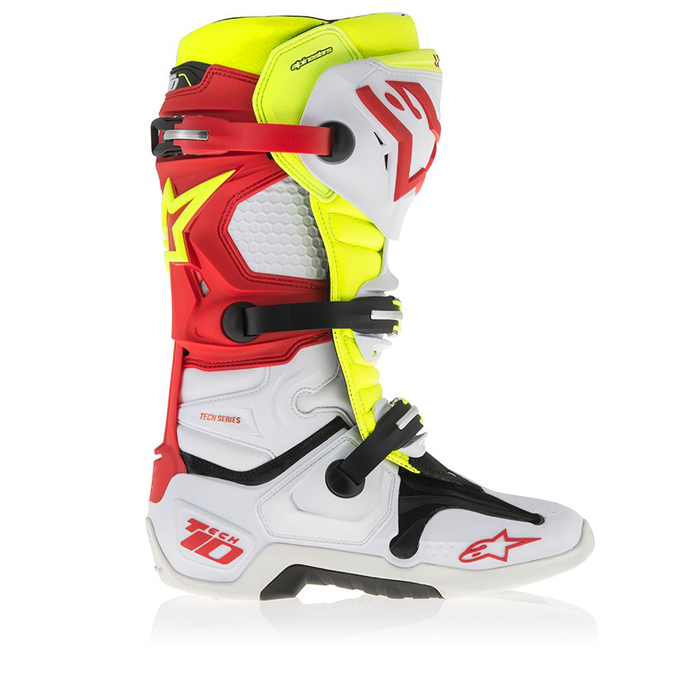 bottes motocross alpinestars tech 10 blanc rouge jaune fluo fx motors. Black Bedroom Furniture Sets. Home Design Ideas