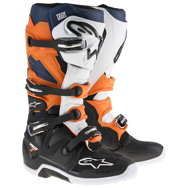 bottes motocross alpinestars tech 7 black orange white blue fx motors. Black Bedroom Furniture Sets. Home Design Ideas