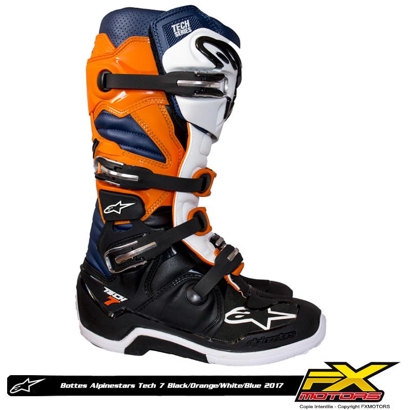 bottes motocross alpinestars tech 7 black orange white blue fx motors. Black Bedroom Furniture Sets. Home Design Ideas
