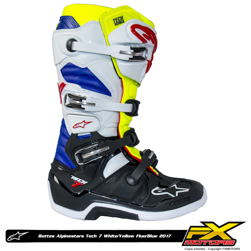 bottes motocross alpinestars tech 7 white yellow fluo blue fx motors. Black Bedroom Furniture Sets. Home Design Ideas