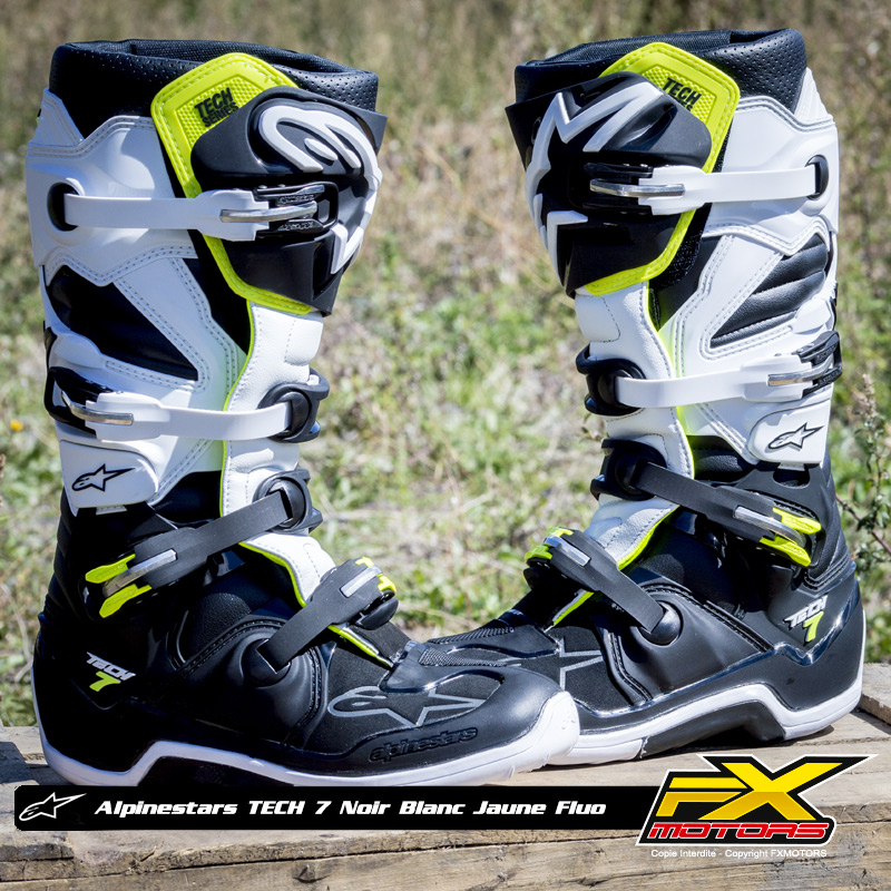 bottes motocross alpinestars tech 7 noir blanc jaune fluo fx motors. Black Bedroom Furniture Sets. Home Design Ideas