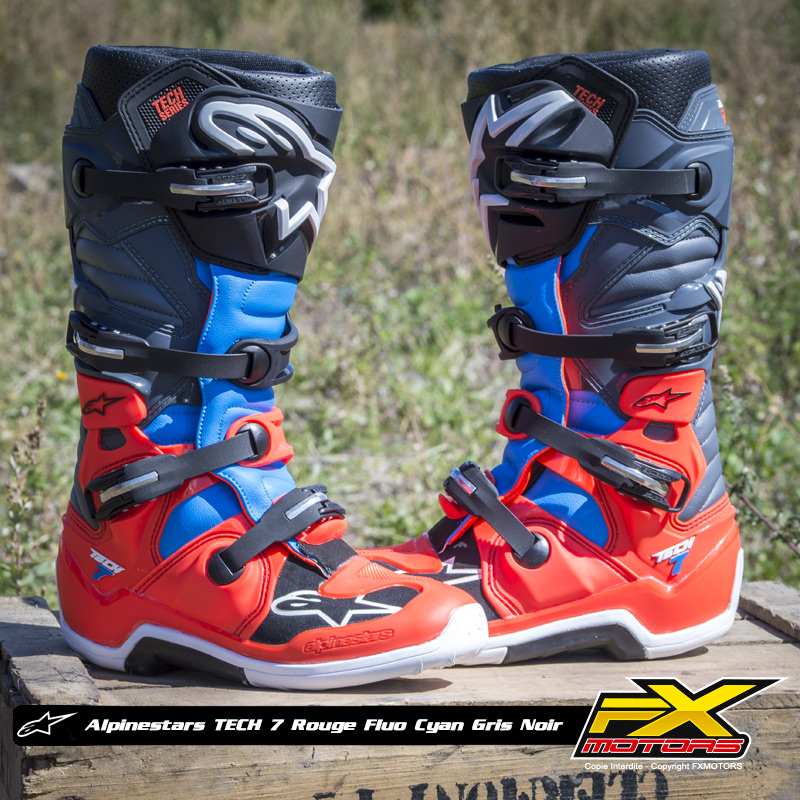 bottes motocross alpinestars tech 7 rouge fluo cyan gris noi fx motors. Black Bedroom Furniture Sets. Home Design Ideas