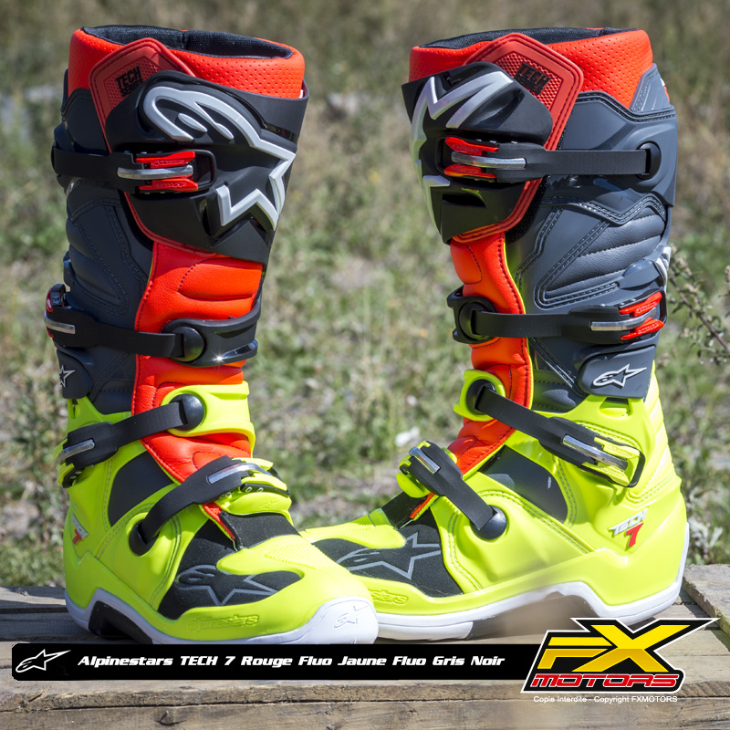 bottes motocross alpinestars tech 7 jaune f rouge f gris n fx motors. Black Bedroom Furniture Sets. Home Design Ideas
