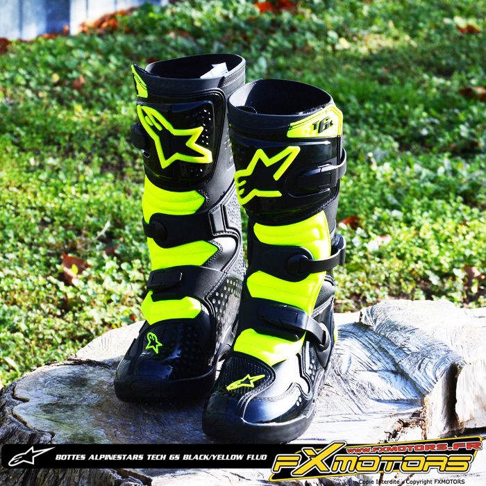 bottes enfant motocross alpinestars tech 6s black yellow. Black Bedroom Furniture Sets. Home Design Ideas