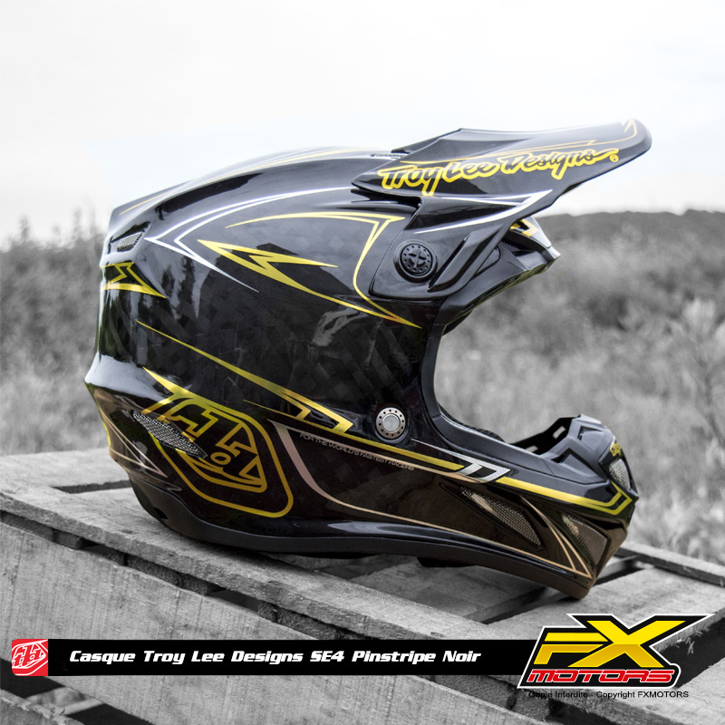 Troy Lee Designs Helmet >> Casque Cross TLD SE4 Carbon Pinstripe Black - FX MOTORS