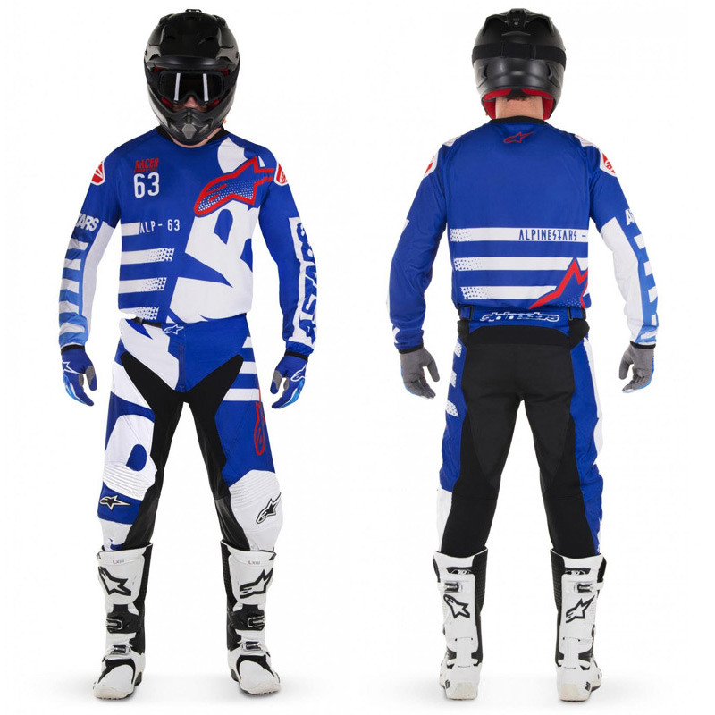 tenue cross alpinestars braap bleu blanc rouge 2018 fx motors. Black Bedroom Furniture Sets. Home Design Ideas