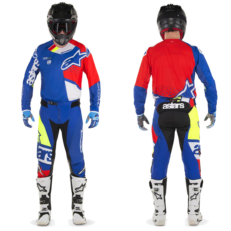 tenue cross alpinestars techstar factory bleu rouge blanc 20 fx motors. Black Bedroom Furniture Sets. Home Design Ideas