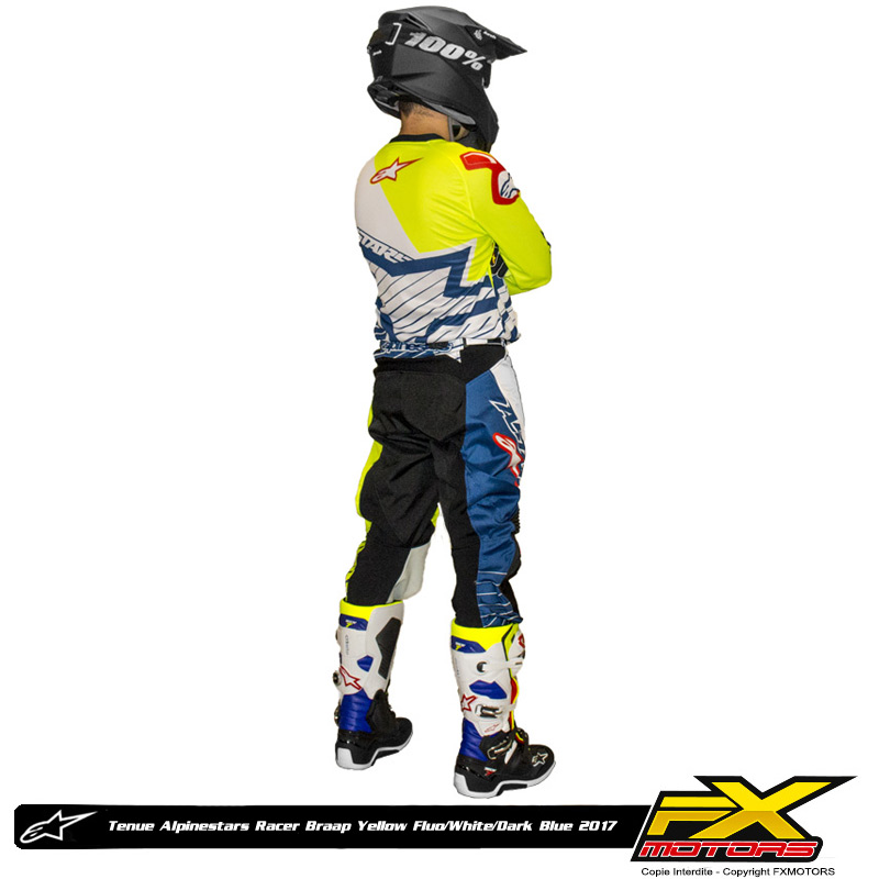 tenue cross alpinestars racer braap yellow fluo white blue 2 fx motors. Black Bedroom Furniture Sets. Home Design Ideas