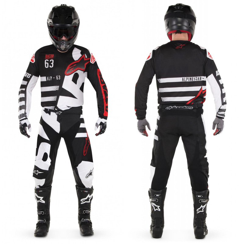 tenue cross enfant alpinestars racer braap noir blanc 2018 fx motors. Black Bedroom Furniture Sets. Home Design Ideas